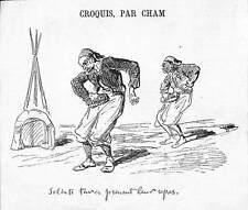 HUMOUR SOLDATS TURCS TURKISH SOLDIERS DESSIN DE CHAM GRAVURE ILLUSTRATION 1877