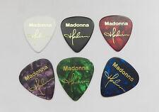 MADONNA signature stamped gold printed plectrum guitar picks set of 6 med 0.71mm