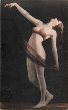 RISQUE SEXY SEMI-NUDE BRUNETTE PIN-UP POSTCARD