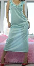 VTG Blue Ivory Scalloped Lace Soft Shimmer Nylon Sissy Slip Nightgown sz S