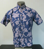 Mens Reyn Spooner Blue Floral Short Sleeve Hawaiian Button Front Shirt Size M