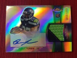 Robert Turbin AUTO 2-color PATCH 2012 Topps Finest ROOKIE RC - Seahawks