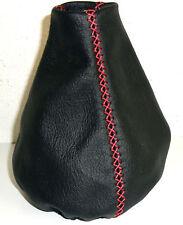 cuffia cambio vera pelle NERA cuciture personalizzate ROSSE x FIAT 500 dal 2006+