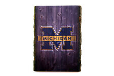 Michigan Wolverines Wood Sign - Natural Edge Wooden Plaque with Wolverines Logo