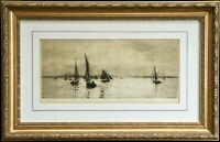 "🔥William Lionel Wyllie Signed Original Etching ""Isle of Wight"" UK Sailboats COA"