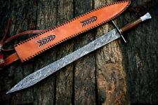 CUSTOM HANDMADE DAMASCUS KNIFE / SWORD GADDER DOUBLE EDGE KNIFE / FULL DAMASCUS