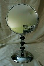 """POLISHED CHROME PEDESTAL VANITY MIRROR w/Magnification, Black Faceted """"Jewels"""""""