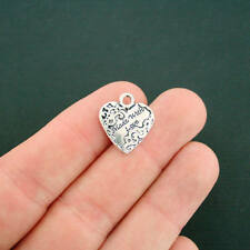 8 Made With Love Heart Charms Antique Silver Tone - SC6988