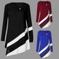 Plus Size Women Autumn Winter Asymmertrical Tunic T-Shirt Long Sleeve Top Blouse