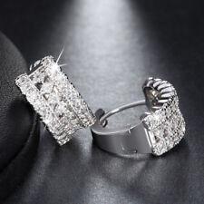 Women's Round Cut Cubic Zirconia Earrings Silver Plated Jewelry Ear Hoop Huggie