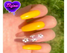 20 Set Yellow White Flower Hand Painted Press On Fake False Nails Glue Glitter