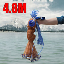 8FT 4.8m Fish Net Bait Easy Throw Strong Nylon Line With Sinker F/ Hand Casting