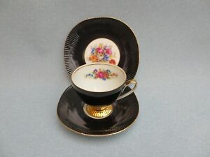 Vintage Chodziez China Black Floral Trio Tea Cup Saucer Plate Made in Poland