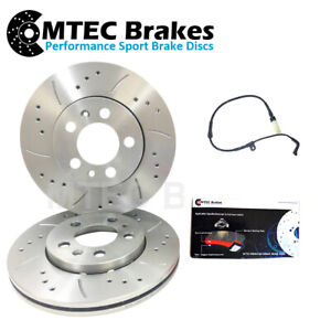 BMW E60 E61 535d 04-11 Front Drilled Grooved Brake Discs Pads & Wear Lead 348mm