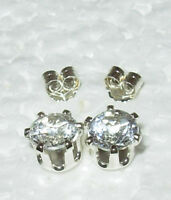 WHITE TOPAZ 100% NATURAL! STUD EARRINGS STERLING SILVER Pick A Size!
