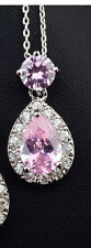 GORGEOUS 18K WHITE GOLD PLATED GENUINE PINK CZ & AUSTRIAN CRYSTAL NECKLACE