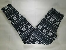 Womens Black White Snowflake Leggings Yoga Pants Stretch Medium Polyester Blend