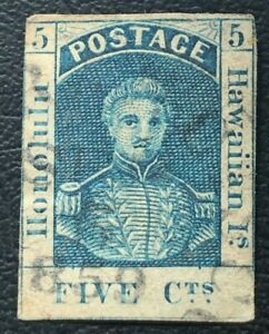 Hawaii Stamps 1853 King Kamehameha III #5 5c Blue VF/XF Used H Thick White Paper