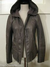 NWT $328 HINGE NORDSTROM *SOLD OUT* GREY LEATHER HOODED JACKET XXS 00 0