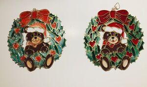 Christmas Plastic Stained Glass Teddy Bear Wreaths Sun-catchers Window Decor Vtg