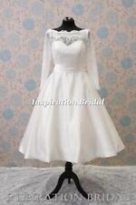 Boat Neck Long Sleeve Short Wedding Dresses