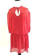 Diane von Furstenberg New Desma Dress Sz 2 Drawstring Drop Waist 100% Silk Red