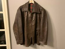 VINTAGE 40's WW FRENCH DISTRESSED LEATHER CYCLIST JACKET SIZE XL WOOL LINED