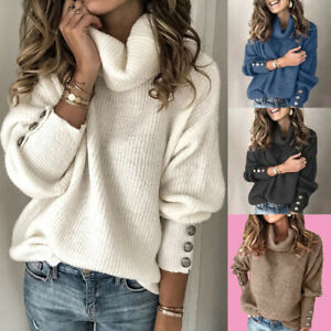 Women High Neck Winter Warm Sweater Turtleneck Tops Chunky Knit Pullover Jumper