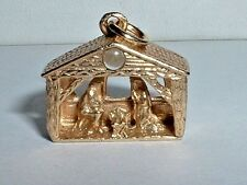 VINTAGE 14k YELLOW GOLD 3D CHRISTMAS NATIVITY STANHOPE PENDANT CHARM