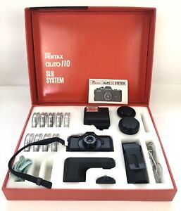 Asahi Pentax Auto110 SLR Camera System w 3 Lens Flash Auto Winder Filters