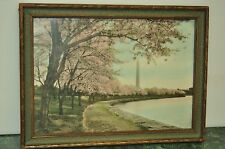 Washington Monument Cherry Blossoms Hand Colored over Photograph Glass Framed
