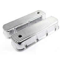 Chevy BBC 454 Classic Nostalgia Finned Aluminum Valve Covers - Tall w/ Hole