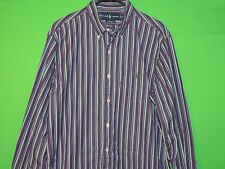 Polo Ralph Lauren Men's Size 16 1/2 / L Large Custom Fit Purple Striped Shirt