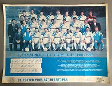 Ancienne affiche dédicacée Foot Olympique Marseille OM 1991-92 Papin Deschamps
