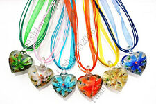 FREE Wholesale Lot 6pcs Heart Flower Lampwork  Glass Pendants Necklace Fashion