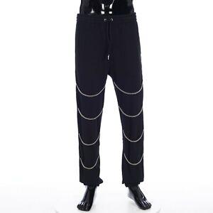 CELINE 1250$ Chains Track Pants in Black Cotton Fleece