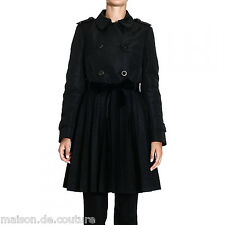 $1300 RED VALENTINO BLACKNYLON TRENCH PLUMETIS PLEATED LACE WOMEN COAT JACKET