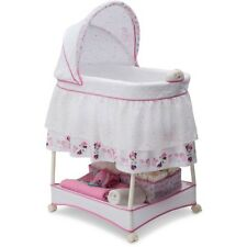Baby Gliding Bassinet Crib Cradle Nursery Newborn Furniture Bed Pink Child Girl