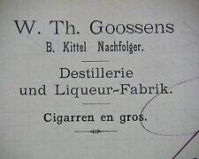 NEUWIED 1898, GOOSSENS - Destillerie & Liqueurfabrik-Cigarren, Litho Rechnung