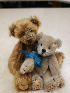 WORLD OF MINIATURES mohair Theresa Yang Bears Lot of 2 Byron & Scott