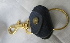 PURSE STYLE DARK BLUE LEATHER GOLD TONE  CLIP ON   KEY CHAIN 1 1/2 X 3 1/2