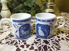 """CROWN TRENT of England (2) Blue & White Rabbit/Cat Bone China 3.25"""" Cups"""