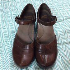 Dansko Sally Women Sz 40 (US 9) Brown Leather Mary Jane Clog Closed Heel & Toe