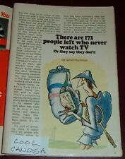 1973 TV ARTICLE~THERE ARE 172 PEOPLE LEFT WHO NEVER WATCH TV~SO THEY SAY
