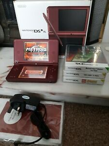 Nintendo DSi XL Handheld Console - Wine Red/Burgundy BOXED Charge Cable & Games