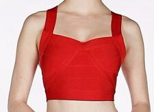 WOW Couture Sexy Bandage Crop Top with Zippered Ladder Back - Red - Size Small