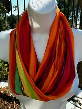Women's Multi Colored Abstract Silky Jersey Knit Infinity Circle Cowl Scarf NWT