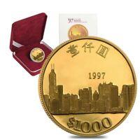 1997 Hong Kong $1000 Commemorative Proof Gold Coin (w/Box & COA)