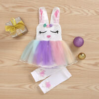 NEW Easter Bunny Rabbit Baby Girl Sequin Tutu Romper Dress Leg Warmers Outfit