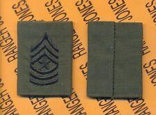USA Enlisted SERGEANT MAJOR SGM E-9 OD green & Black slip on rank patch